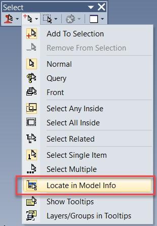 Femap 2019 Выделение объектов в дереве проекта Locate in Model Info