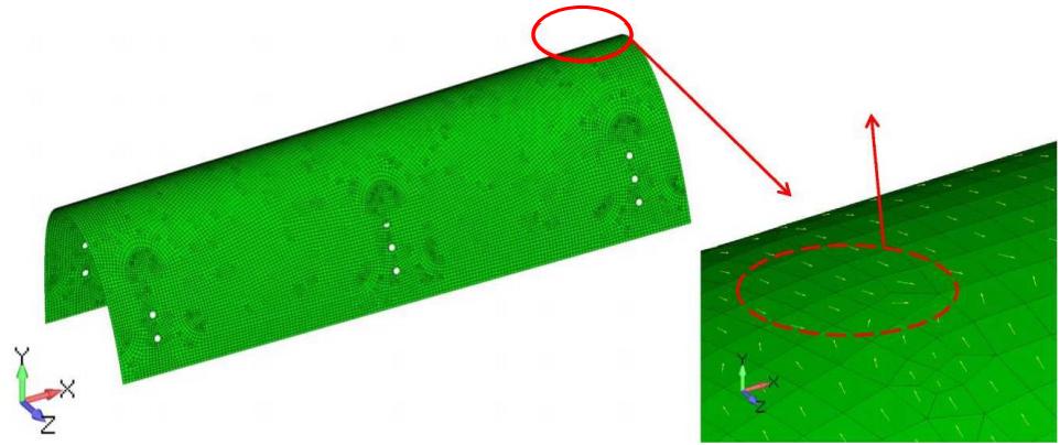 Пример определения направления материала для модели со сложной геометрией, femap, nastran