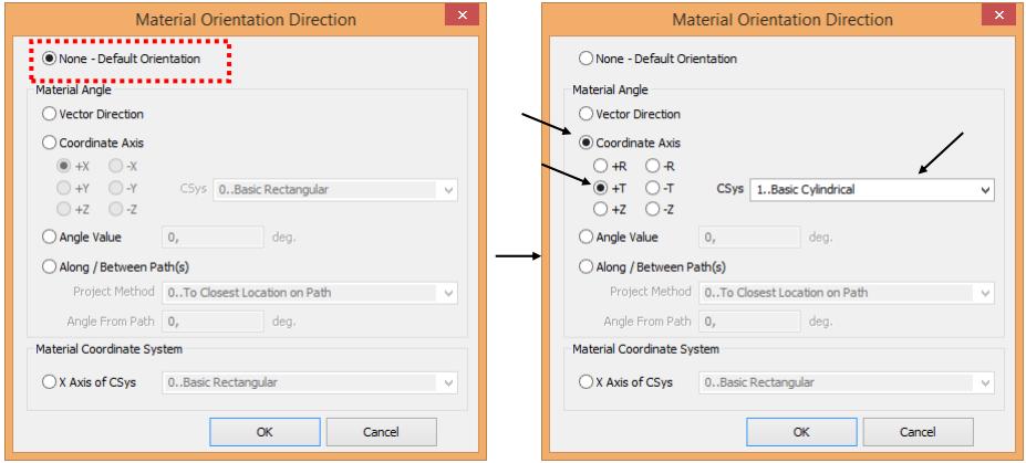 Выбор направления ориентации материала в диалоговом окне Material Orientation Direction