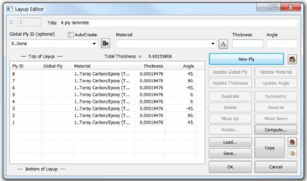 Редактор пакета Layup Editor с определением Пакета 1 siemens femap