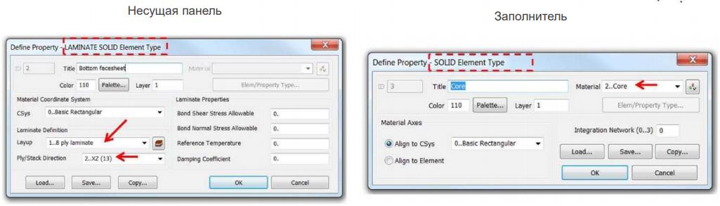 Определение свойств несущей панели и заполнителя в Siemens Femap