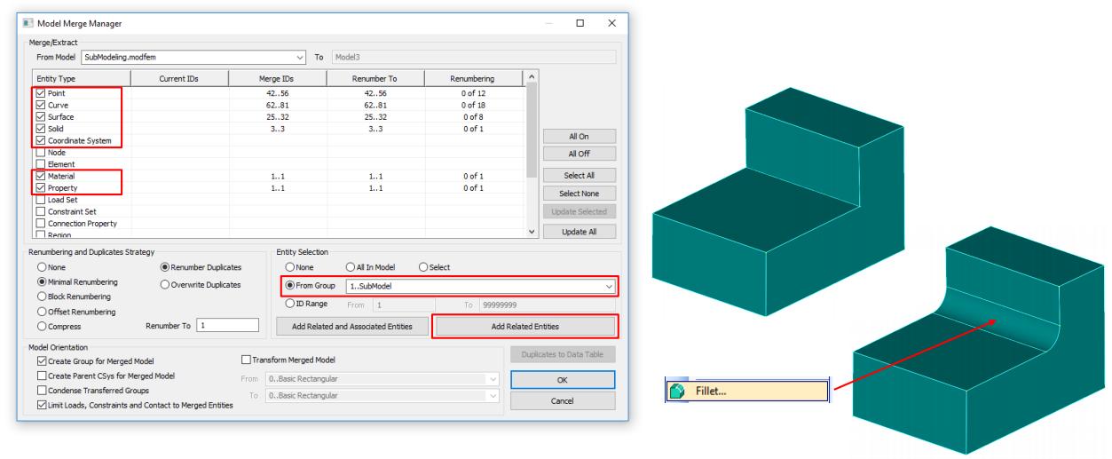 Объединение моделей в femap nastran merge model