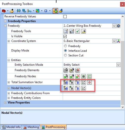 Кнопки быстрого переключения видимости векторов в PostProcessing Toolbox