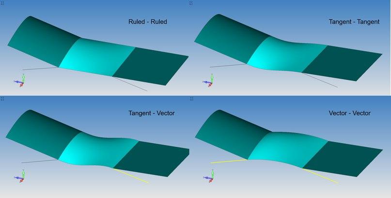 Новая команда построения поверхностей Ruled/Between Curves в Femap v12