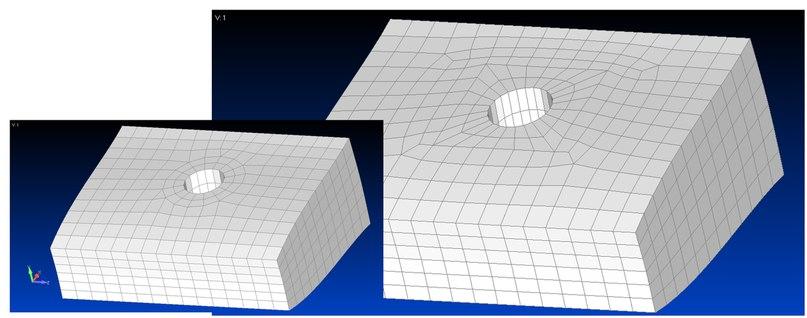 Команды Washer и Pad работают с объемной геометрией, автоматически перестраивая объемную сетку в Femap v12