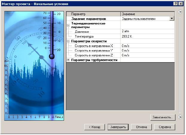 В диалоговом окне Начальные условия в группе Термодинамические параметры задайте значение Давления 2 atm floefd