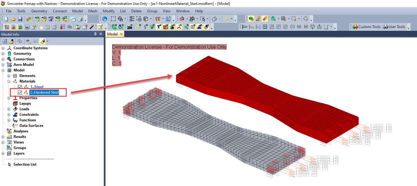 femap Multi-Step Nonlinear 401 402, нелинейный анализ в femap