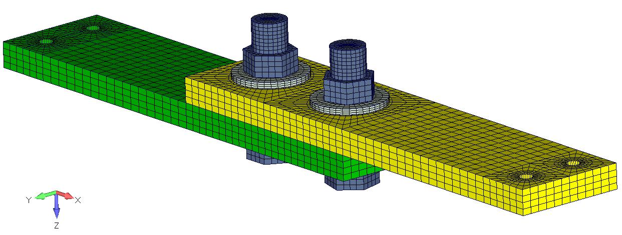Исходная модель болтового соединения в FEMAP, sol 401, sol 402, multi-step nonlinear, bolt preload