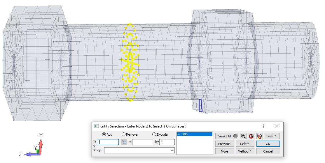 sol 401, sol 402, multi-step nonlinear, bolt preload, Подсветка выбранных узлов,входящих в Bolt Region