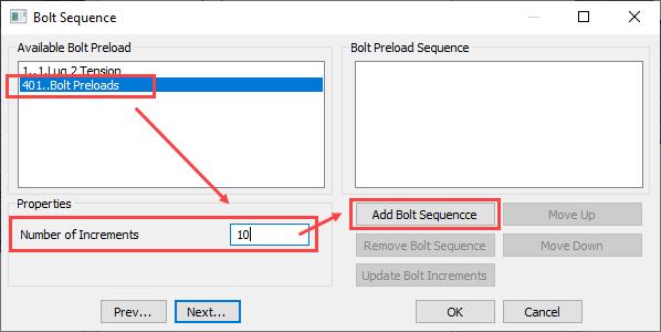 sol 401, sol 402, multi-step nonlinear, bolt preload, Добавление последовательности затяжки болтов Add Bolt Sequence