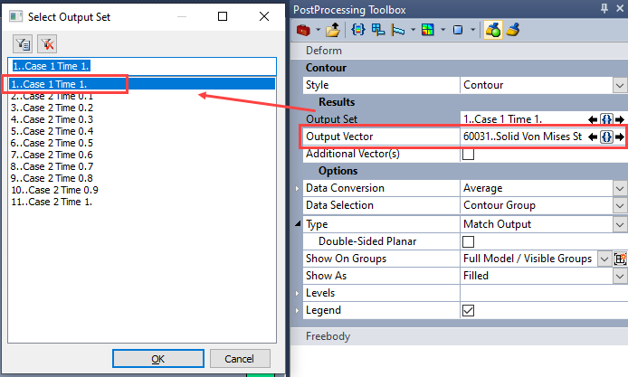 sol 401, sol 402, multi-step nonlinear, bolt preload, Выбор выходного набора данных и вектора результатов