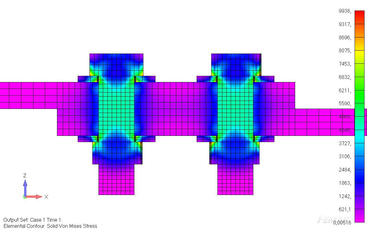 sol 401, sol 402, multi-step nonlinear, bolt preload, Результаты анализа первого подслучая с предварительным натяжением болтов
