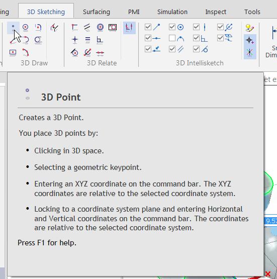 Поддержка точки в 3D-эскизе Solid Edge ST9