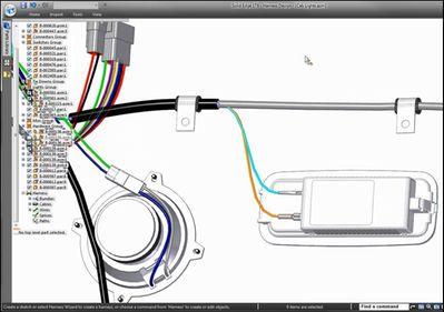 Провода можно добавить в кабели, кабели можно разделить в модуле электропроводки Solid Edge