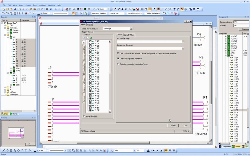Solid Edge ля передачи полных данных об электропроводке в и из Solid Edge используется E3.3D Routing Bridge от Zuken