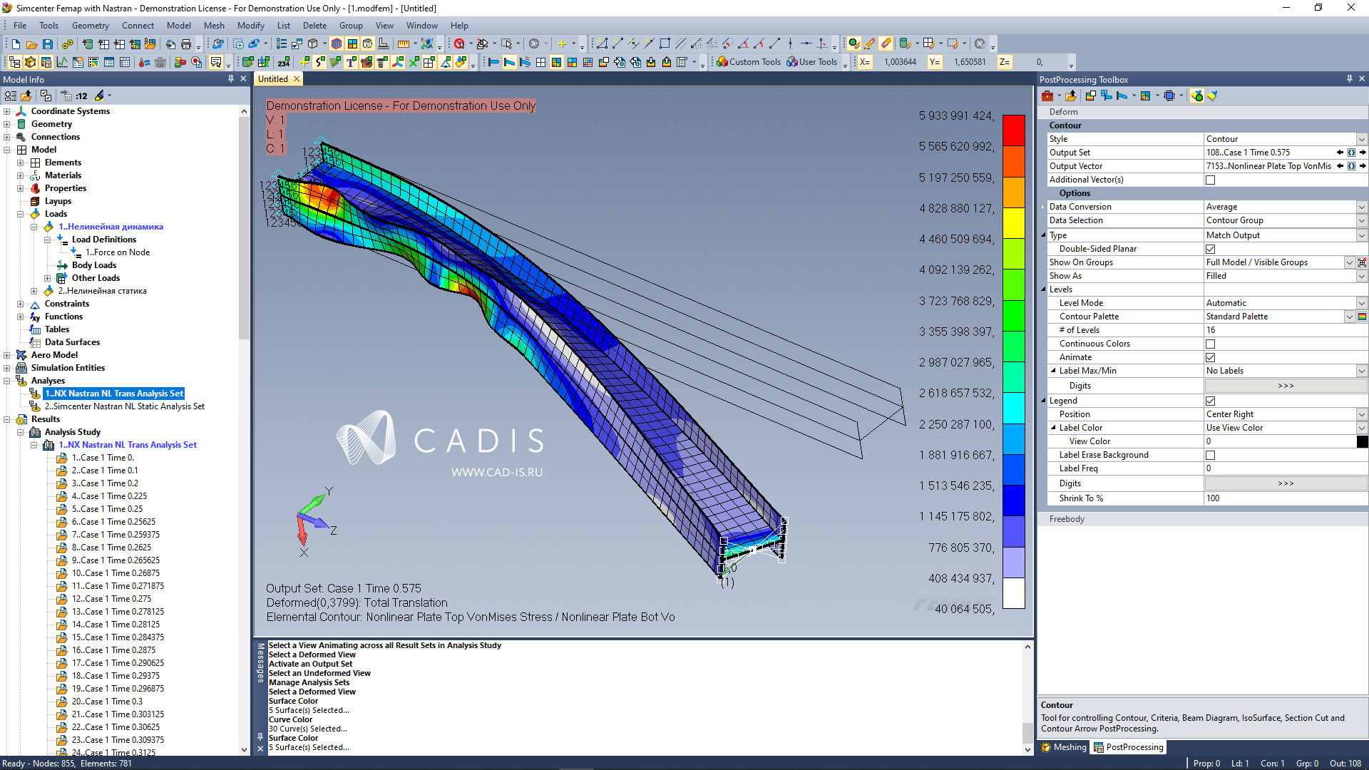 FEMAP with NXN Multistep Nonlinear