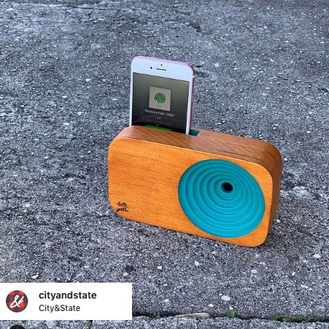 the wooden sound system