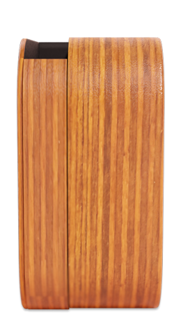 the wooden sound system side view