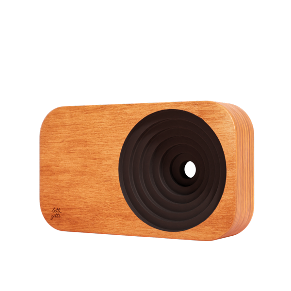 the wooden sound system front panel