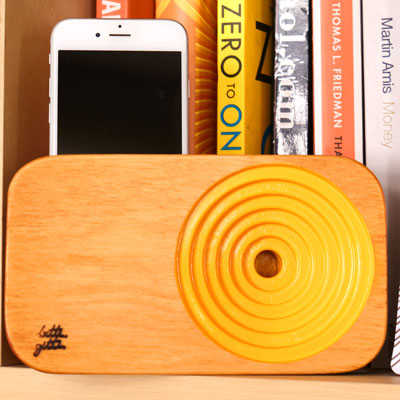 yellow wooden sound system