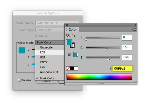 Illustrator screenshot of swatch options and color menu.