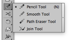 The Pencil Tool on the Illustrator Tool bar.