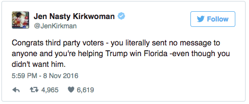 Tweet Message saying: Congrats third party voters - you literally sent no message to anyone and you're helping Trump win Florida -even though you didn't want him.