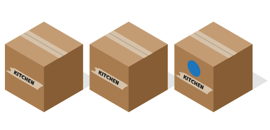 Graphic of three boxes with kitchen written on the side. One box has a blue circle.