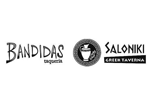 Bandidas and Saloniki logos compared.