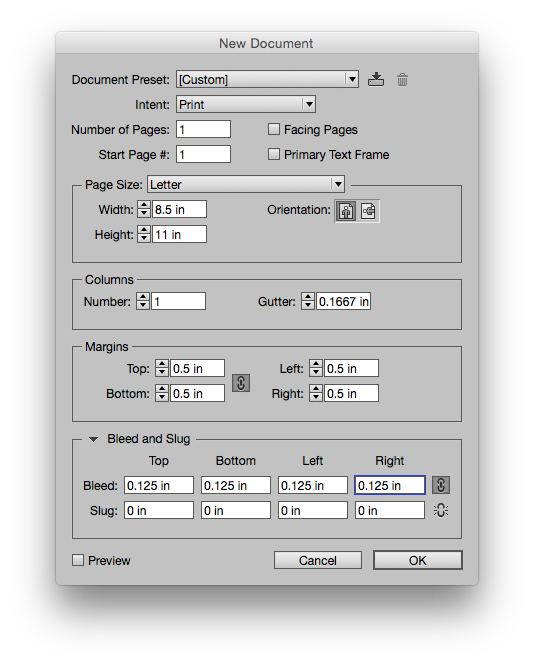 Indesign new document settings dialogue window