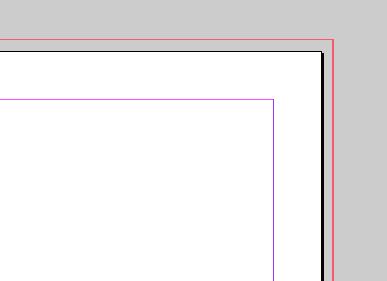 InDesign page showing bleed line and margins