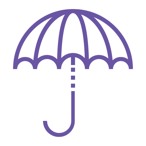 Insurance shown as umbrella for a rainy day