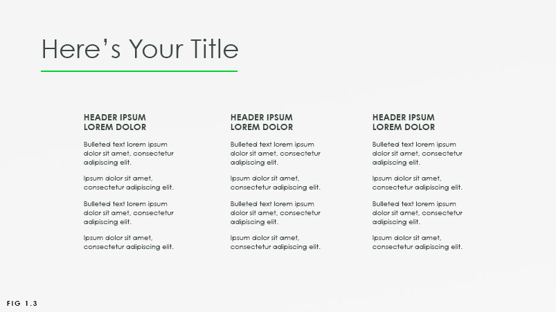 slide sample with three columns of text