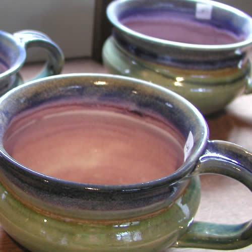 Chowder mugs made of clay