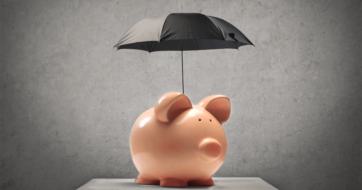 Imagem de um porco com um guarda-chuva.