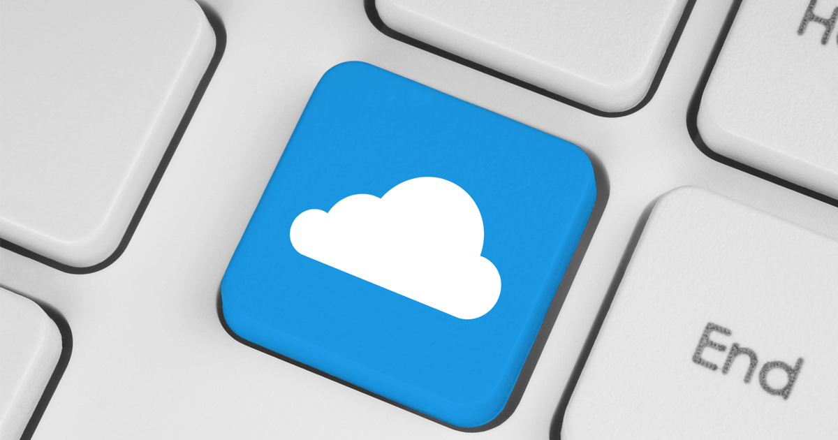 Imagem de um tecla de computador com uma nuvem desenhada.
