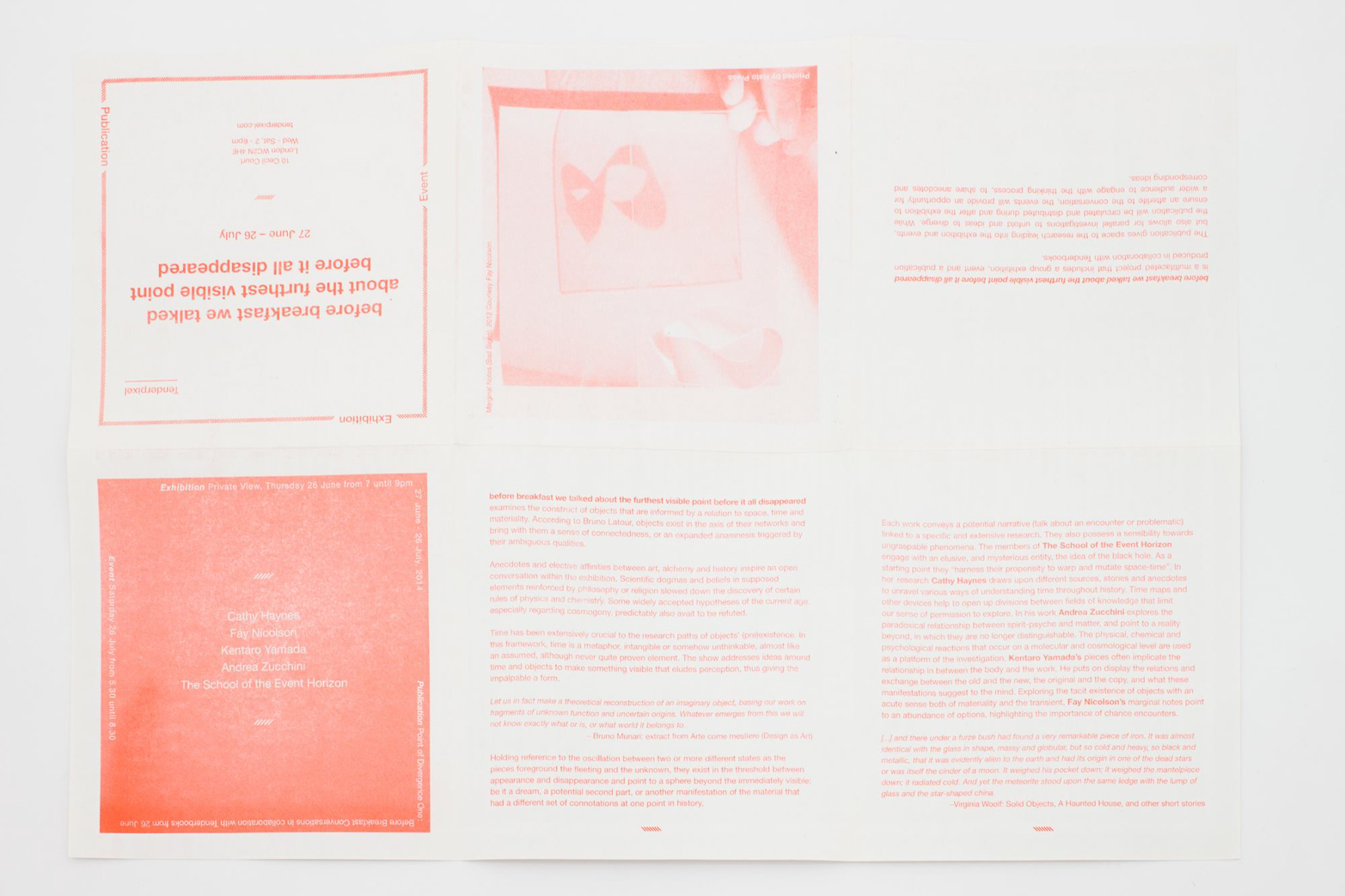 Exhibition handout design by Rowena Harris for Tenderpixel.