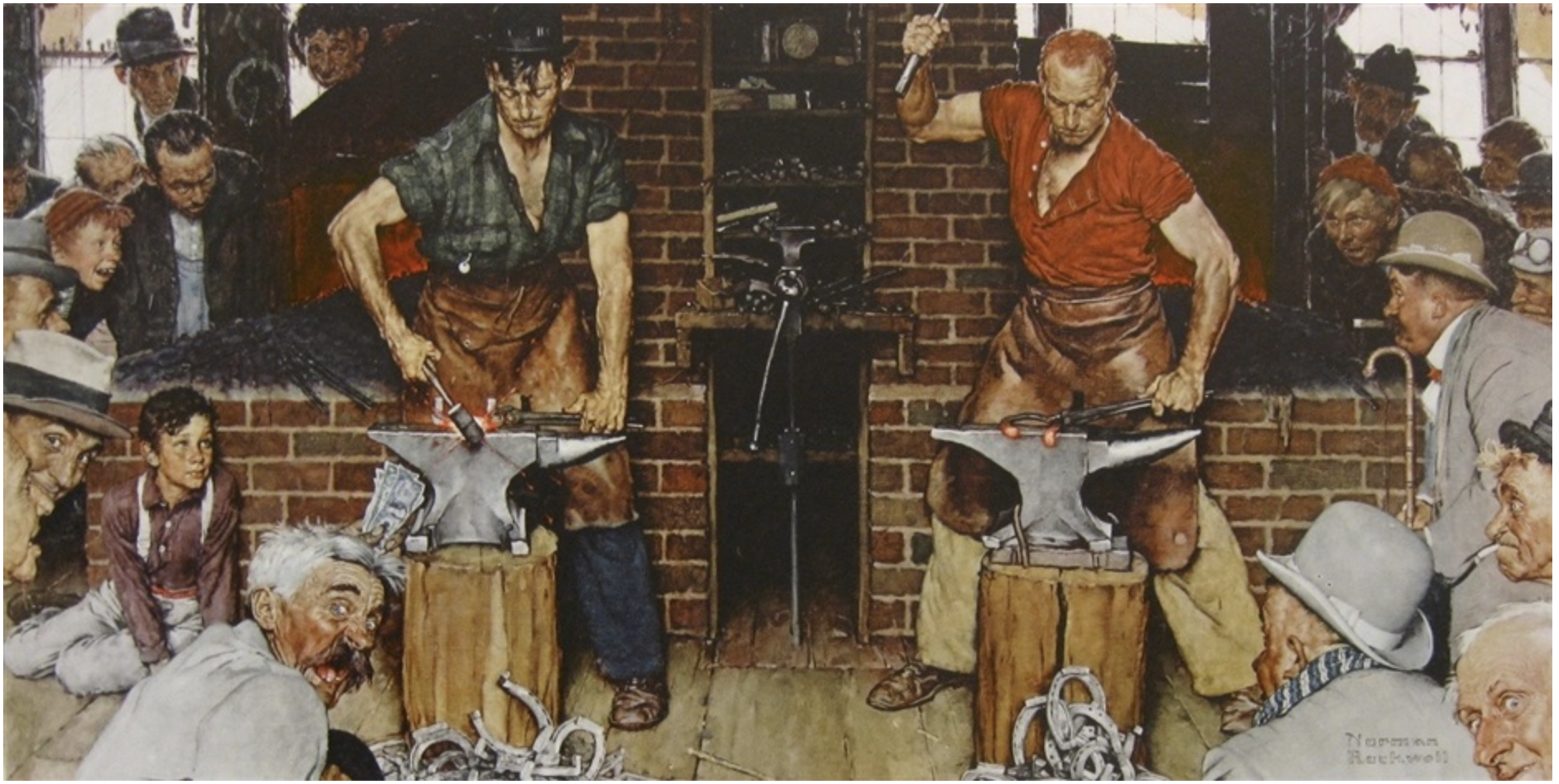 American artist Norman Rockwell Oil on Canvas Painting Blacksmith's Boy, New York Auction House, Houston Auction, Dallas Auction, San Antonio Auction