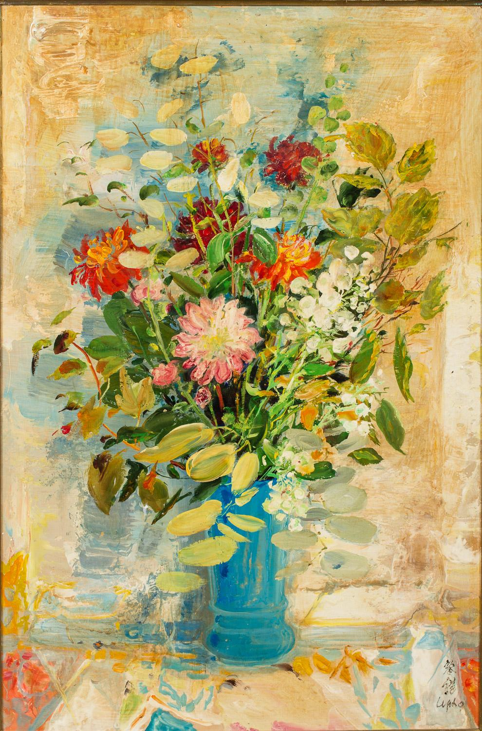 Le Pho (Vietnamese/French, 1907-2001), Le Vase Bleu, Oil on Silk Laid Down on Board