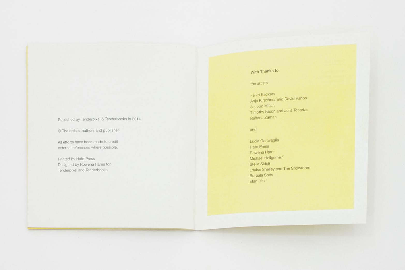 Exhibition handout, designed by Rowena Harris for Tenderpixel