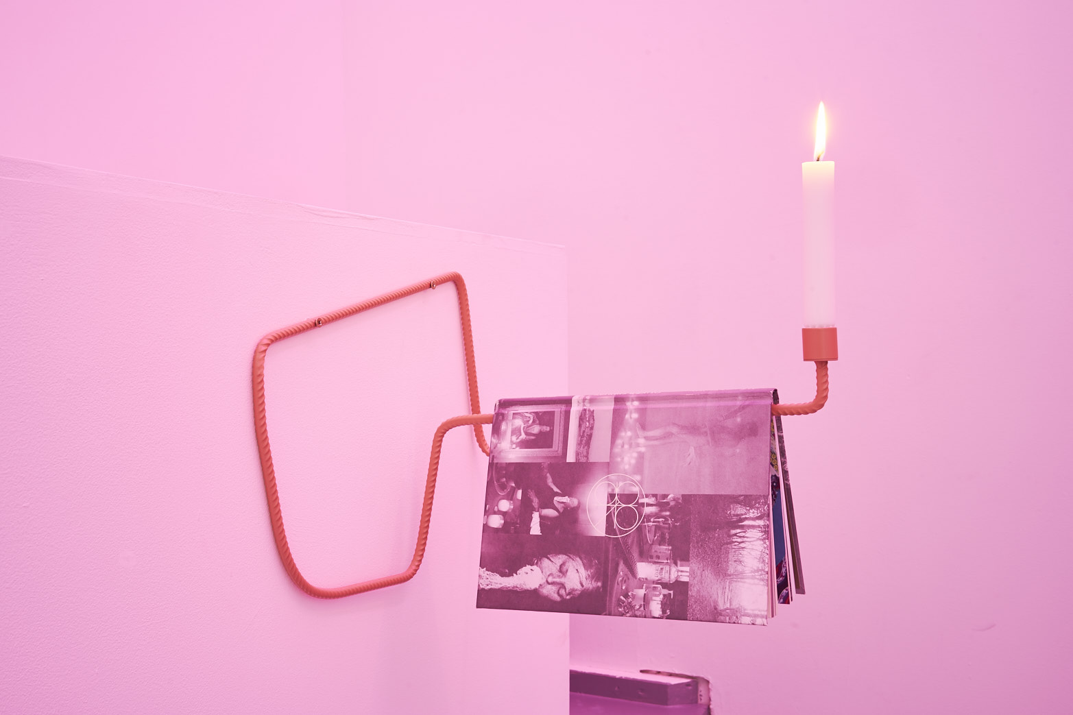 Richard Healy, Queer Spirits, 2016. Powder-coated steel with book, wax candle. Tenderpixel.