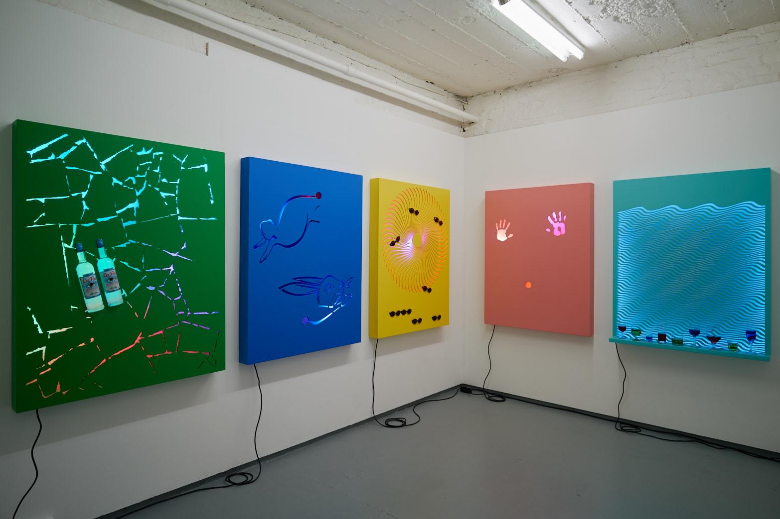David Ferrando Giraut, Vortex series, 2015. Installation view, Tenderpixel.