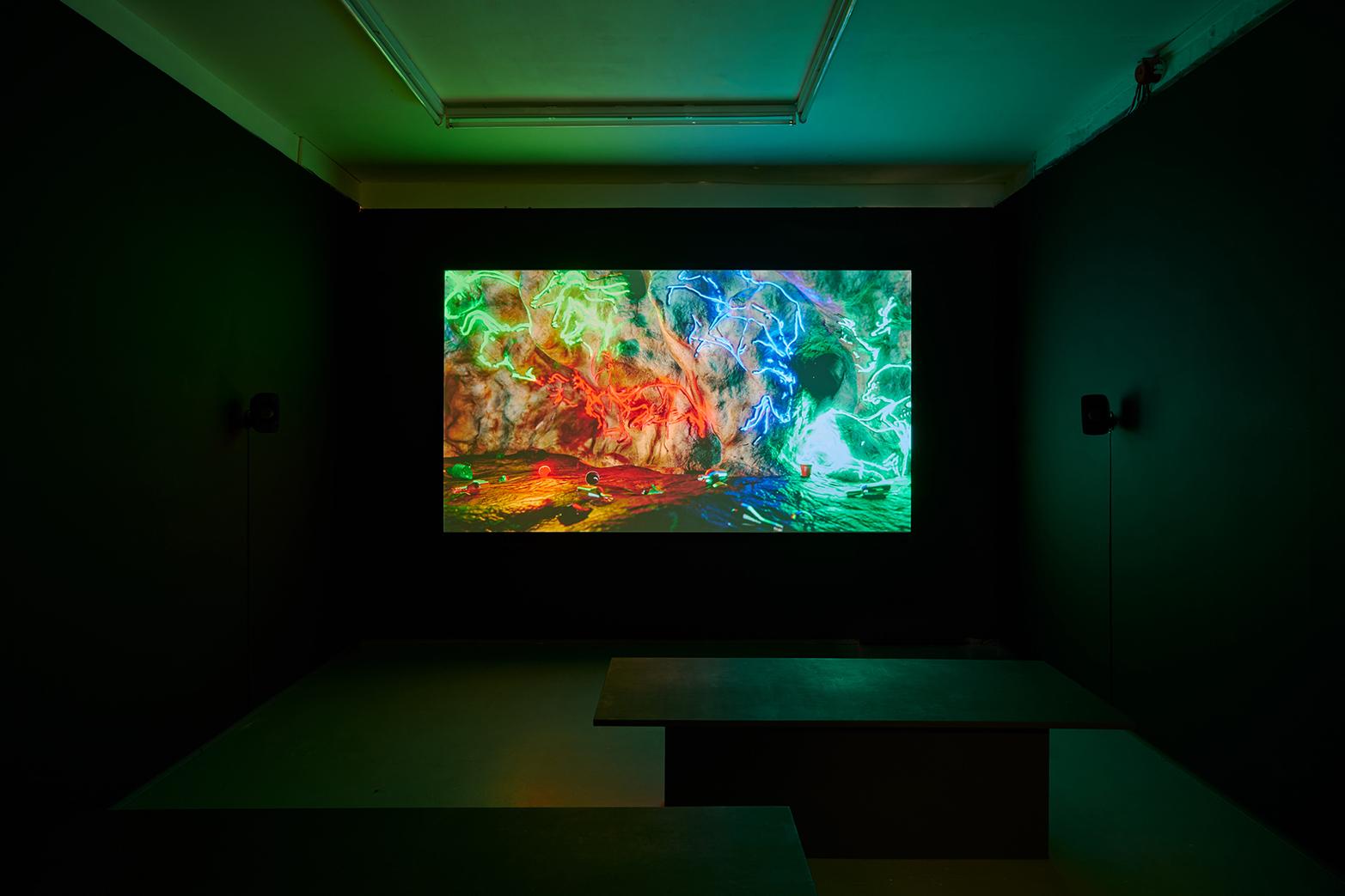 David Ferrando Giraut, The Accursed Stare, 2017. Installation view, Tenderpixel. Digital animation with 5.1 sound. 35 mins.