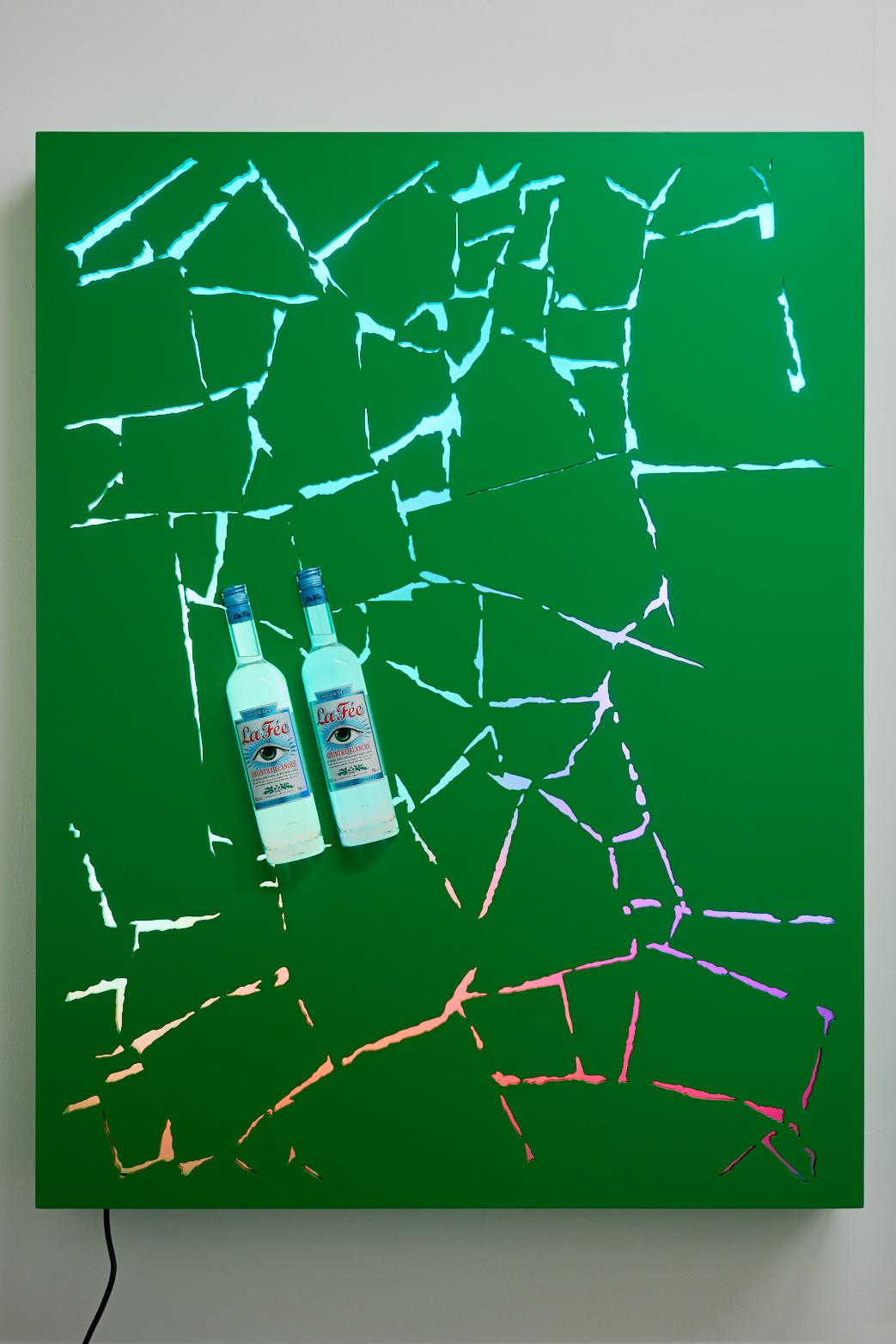 David Ferrando Giraut, V.4 - You Pass Through Walls Lacquered MDF and wood, LED lights, absinthe La Fée Vert. 130 X 100 cm,2015.