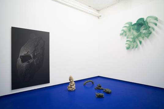 Tropical Hangover, Installation view with works by Salvatore Arancio, Zuzanna Czebatul and Rowena Harris. Tenderpixel.