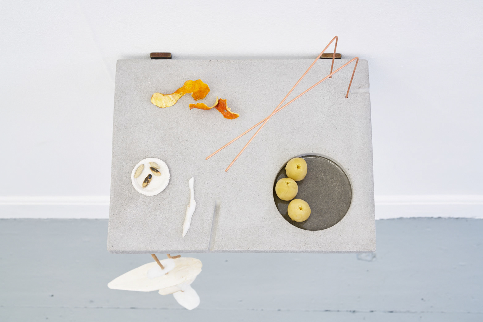 Victoria Adam, Personal Unique pH (potpourri), 2018, Plaster polymer, copper rods, leather, cuttle sh, soap, orange peel, airdry clay, glazed ceramic, beeswax, resin