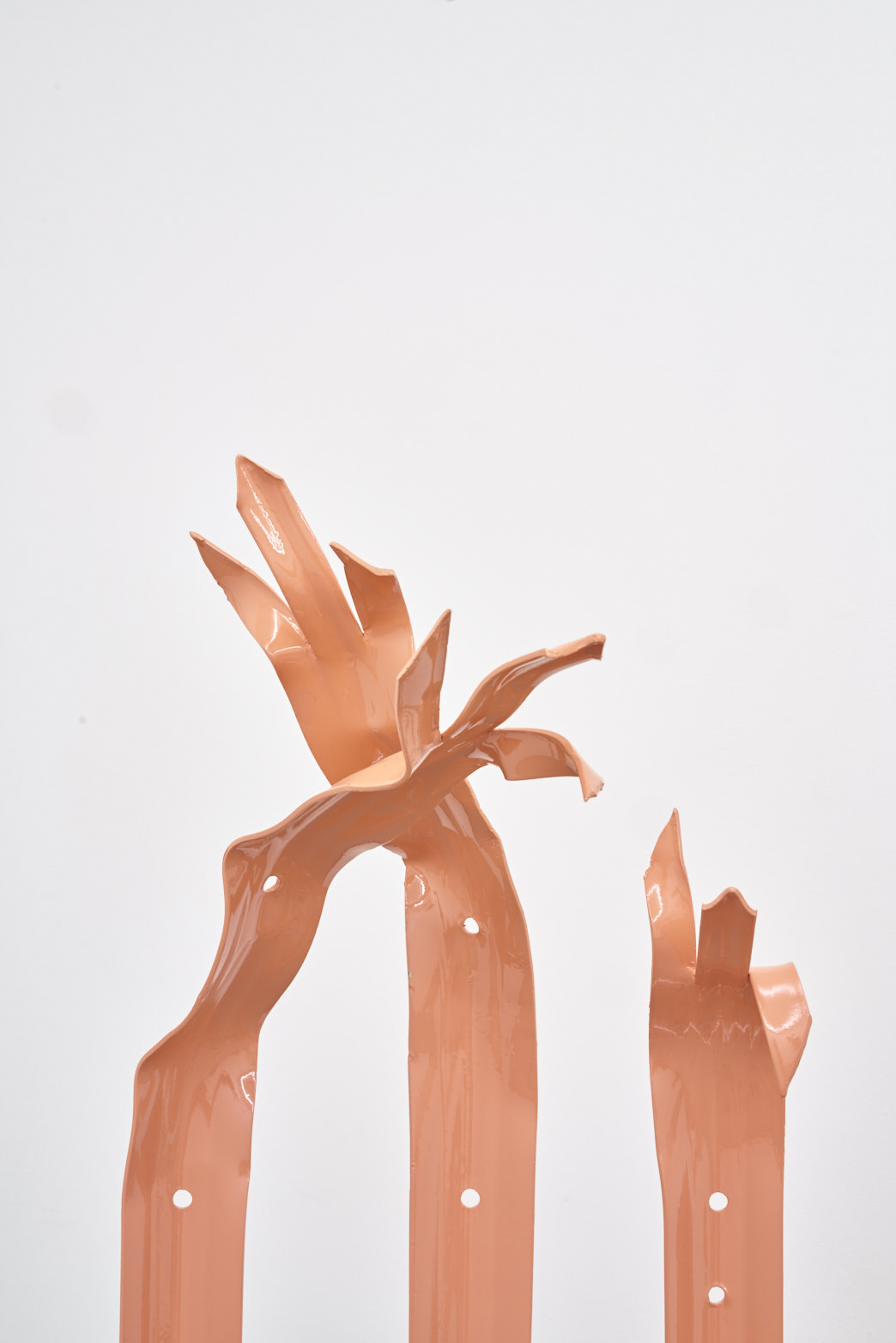 Paloma Proudfoot, Gauntlet, 2018. Anti-vandal fencing, perspex, hand-sewn plastic gloves, glazed stoneware, shower gel