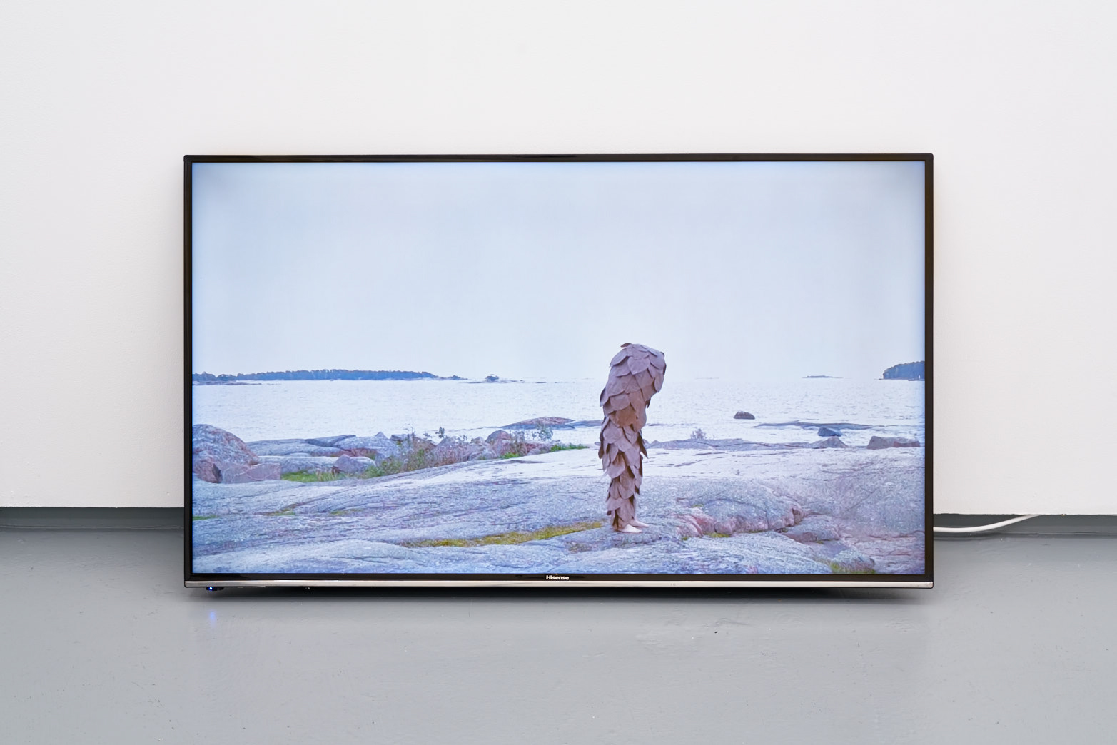 Ingela Ihrman, När inlandsisen dragit sig tillbaka från Sverige vandrade granen in ifrån norr. (When the inland ice pulled back from Sweden, the fir migrated from the north.), 2015, Documentation of performance in fir cone costume