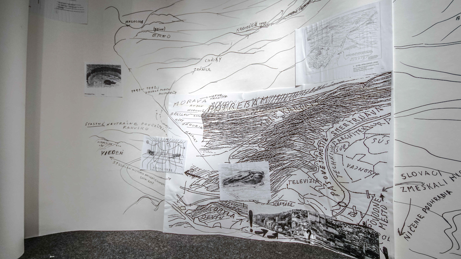 Peter Bartoš, Drawing the World, from the exhibition and event ' Sitting Together' at tranzit.sk, Slovakia, 2016