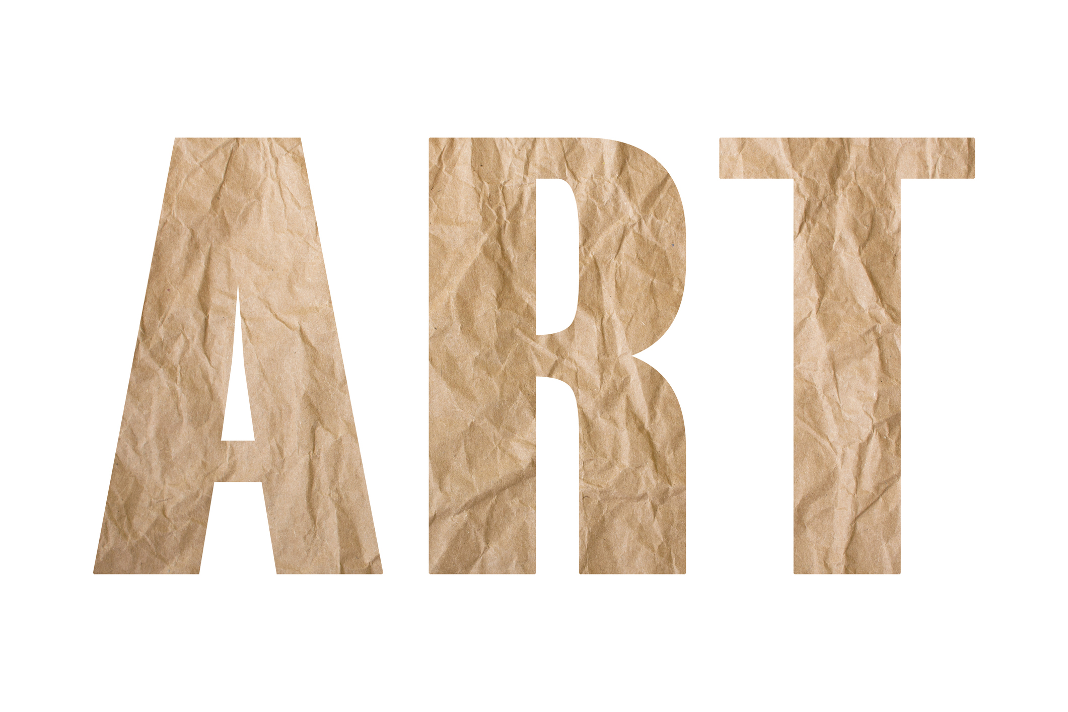 The word art spelled out using brown wrapping paper.